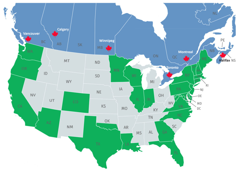 Quality Uptime US & Canada Service Map